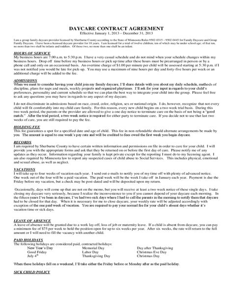 daycare contract template daycare contract agreement free