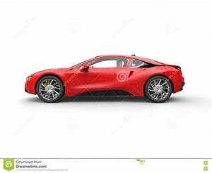 Modern Red Sports Car - Side View Stock Image - Image of ...