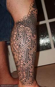 Tatouage Mollet Tribal : tatouage homme tribal mollet et genou tatouage homme ~ Farleysfitness.com Idées de Décoration