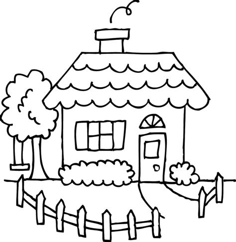 Coloring Home by Best House Clipart Coloring Black White 29978