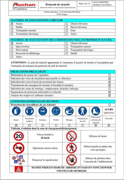 bureau sécurité transport protocole de securite chargement dechargement pdf