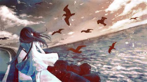Anime Wallpaper Alone - sea seagulls anime anime alone wallpapers hd