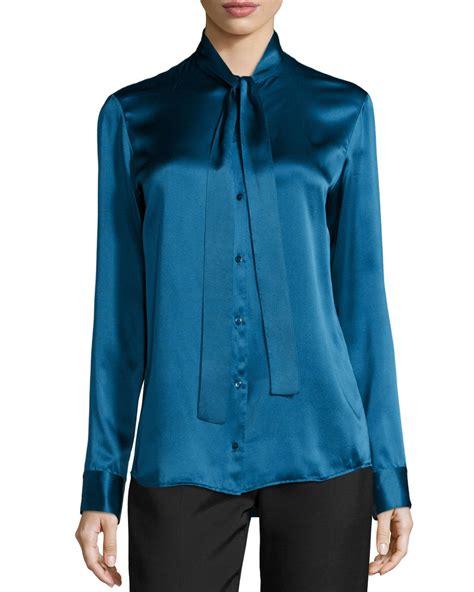 silk tie neck blouse the row tipet silk tie neck blouse in blue marine lyst