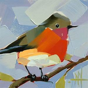 Robin No. 136 Original Bird Oil Painting By Angela Moulton ...