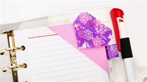 lesezeichen  herz form mit washitape schoenes einfaches origami lesezeichen  zweifarben
