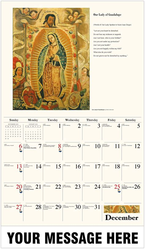 catholic art promotional calendar fundraising business promotion