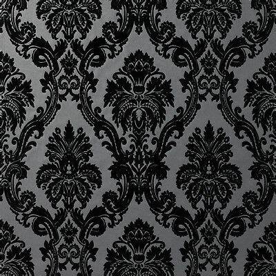 exclusive casablanca velvet flock blackgrey damask