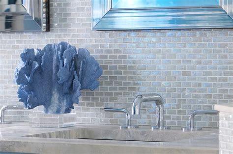 Iridescent Mosaic Tile Backsplash : Blue Glass Iridescent Tiles Design Ideas