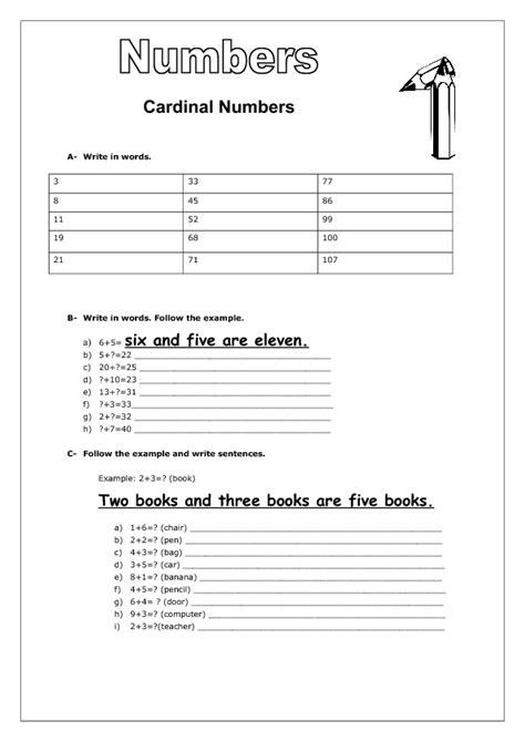 written numbers 1 100 worksheet cardinal numbers ordinal