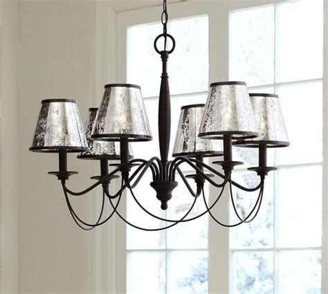chandelier l shades pottery barn antique mercury glass chandelier shade set of 3 pottery