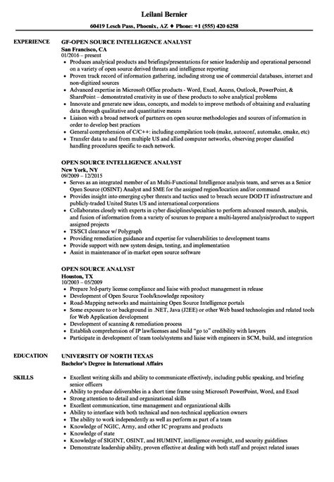 Open Source Analyst Resume Samples | Velvet Jobs