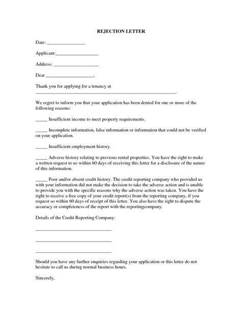 rental application rejection letter  property