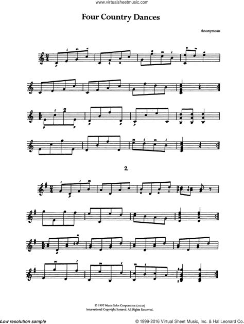 These are perfect songs for beginners to learn, using simple open chords. Four Country Dances sheet music for guitar solo (chords) PDF