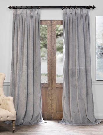 Grey Drapery Panels by Signature Silver Grey Pleated Blackout Velvet Curtain