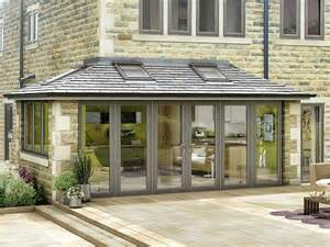modern grey conservatory attached to a house with