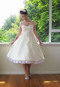 195039s style ivory wedding dress with polka dot overlay With polka dot wedding dress