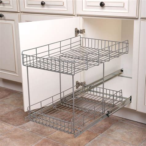 sliding baskets for kitchen cabinets real solutions for real 17 in h x 15 in w x 22 in 7980