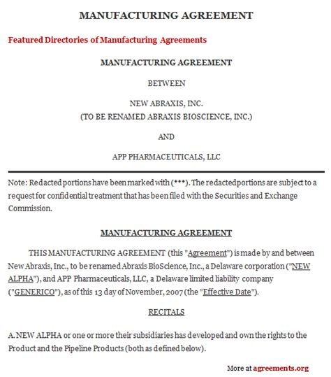 manufacturing contract agreement sample manufacturing