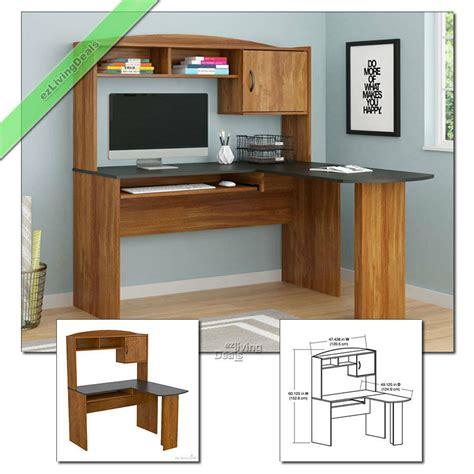 home office desk  hutch  shaped wood corner computer