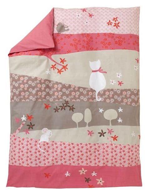 housse de couette fille tiny cat fonce uni avec decor vertbaudet enfant patchwork