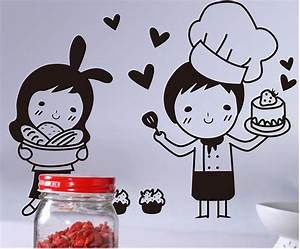 cartoon lovely baker wall art mural decor funny restaurant With best brand of paint for kitchen cabinets with chinese character wall art