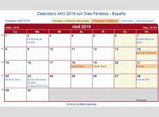 Calendario Abril 2019 para imprimir España