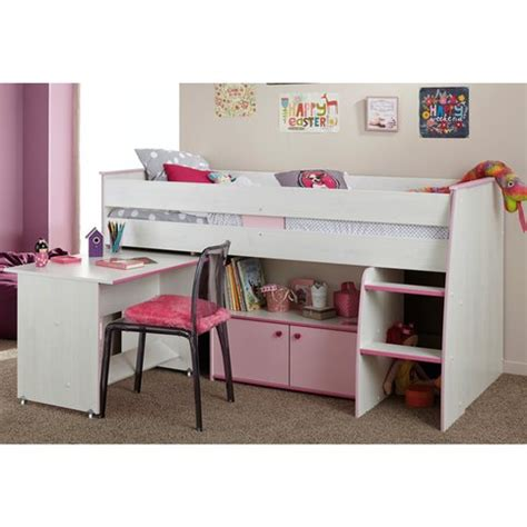 bureau fillette lit combiné surélevé avec bureau et rangement intégrés 1