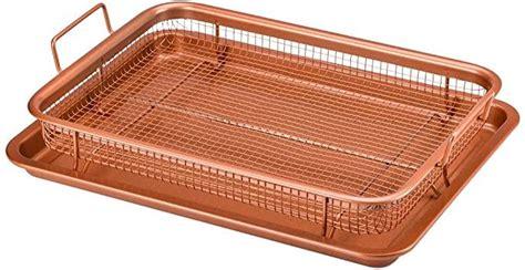 amazoncom copper chef crisper tray  stick cookie sheet tray  air fry mesh basket set