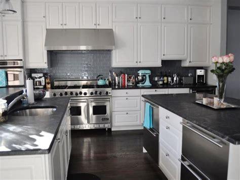 white kitchen cabinets gray granite countertops home