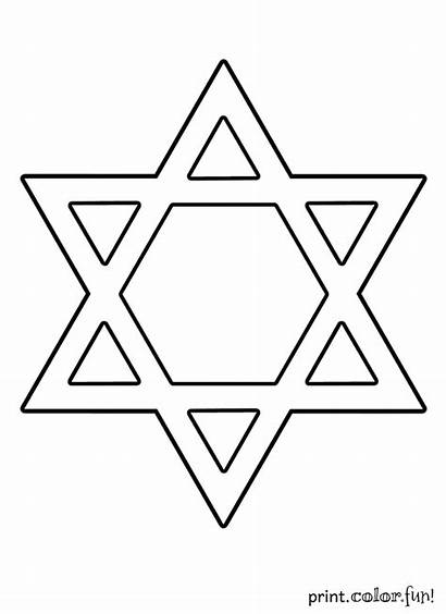 David Star Coloring Pages Printable Chanukah Hanukkah