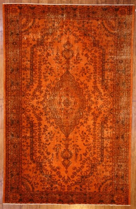 Burnt Orange Bathroom Rugs by Burnt Orange Overdyed Rug Contemporary Rugs Other