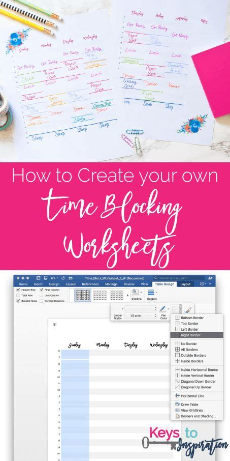 how to create your own time blocking worksheets free printable planner time management