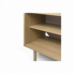 Meuble Tv Blanc Et Bois : meuble tv danois blanc et bois arne concept ~ Teatrodelosmanantiales.com Idées de Décoration