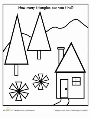 find the shapes triangles worksheet education 161 | find shapes triangles kindergarten
