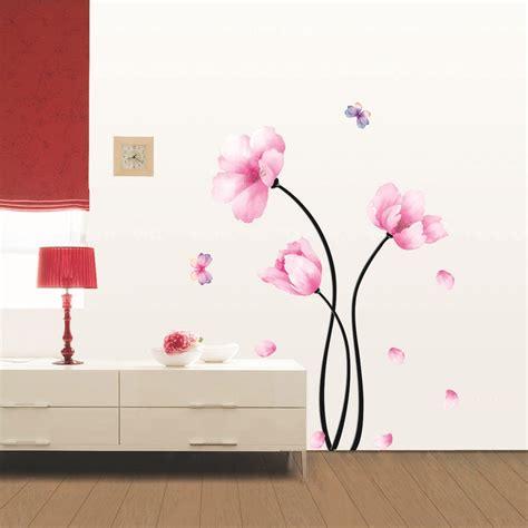 fleurs roses  papillons stickers muraux nature