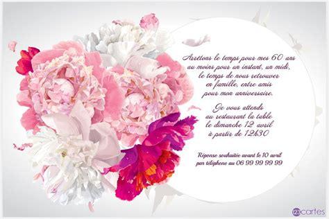 eclipse florale carte invitation anniversaire  ans