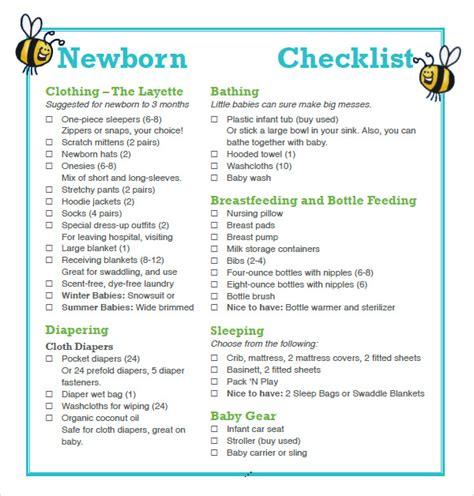 newborn baby essentials newborn checklist 8 free for pdf