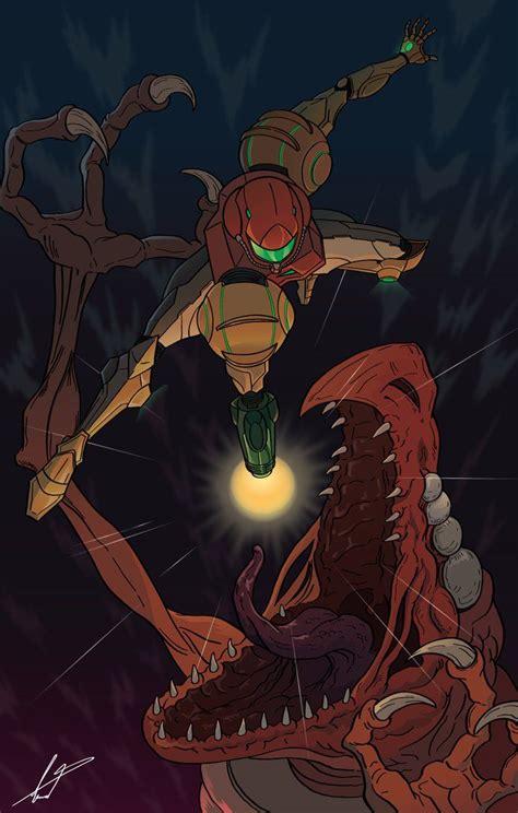 Beating Crocomire Metroid Fan Art By Fabianleonardo