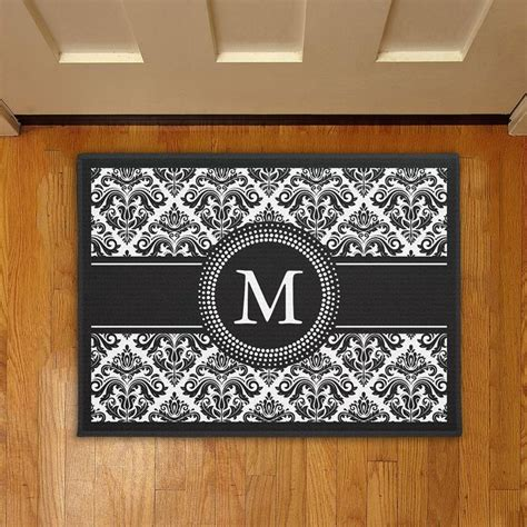 Doormats With Initials by Monogrammed Initials Vintage Black White Damask Doormat