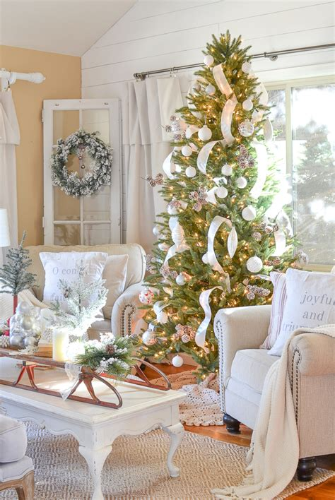 neutral farmhouse christmas decor   front room