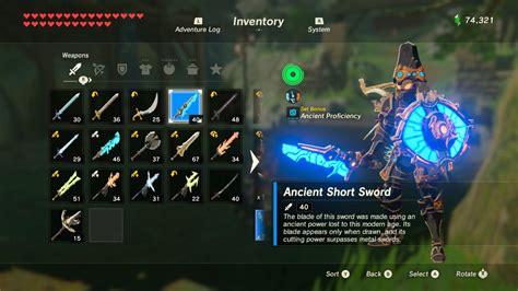 botw zelda weapons inventory weapon legend switch nintendo combinations max source