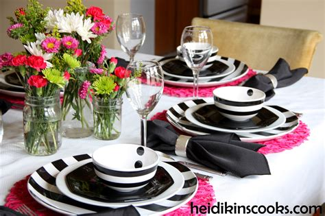 black  pink table settings black  pink table