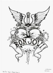 bon jovi heart and dagger logo black and white by With killswitch