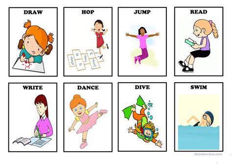 action verbs flash cards set  english esl worksheets