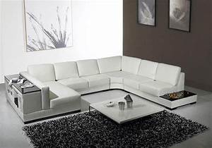 Contemporary leather sectionals living room modern with for Sectional sofa area rug