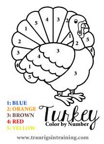 Thanksgiving Turkey Color by Number Coloring Page