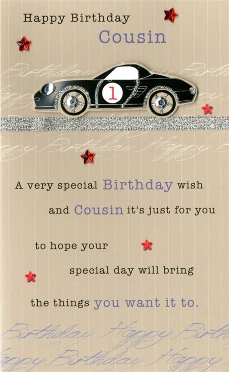 happy birthday cousin embellished greeting card cards love kates