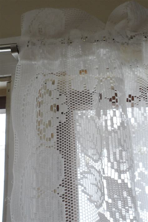 jcpenney white lace curtains vintage shabby floral chic white lace jc penney