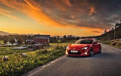 Toyota Gt86 Cars Sunset Farm Landscape Sheep