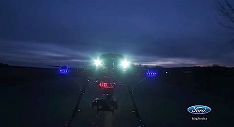 drone lights at night watch a drone land on a moving f 150 at night ford